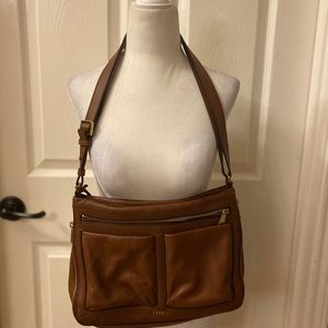 Fossil Leather Crossbody with Zippers